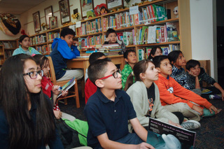 A group of students in a library